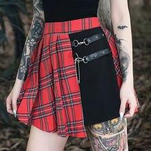 Женская ассиметричная мини юбка плиссированная с красными панелями