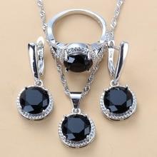 Новинка 2020, Свадебные Ювелирные наборы из серебра 925 пробы, черные циркониевые висячие серьги и ожерелье, кольцо, комплект из 3 предметов, жен...