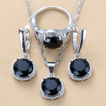 2020 New 925 Silver Wedding Jewelry Sets Black Zircon Dangle Earrings and Necklace Ring 3 piece Set women Trendy Costume 1