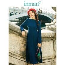 Inman 2019 nova chegada o-enck retro hongkong estilo definido cintura fina manga comprida snit a-line vestido longo feminino