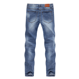 Image 2 - Mens Jeans 2020 Summer Thin Business Casual Straight Slim Fitness Elastic Light Blue Soft Gentleman Trousers Cowboys Jean Hombre
