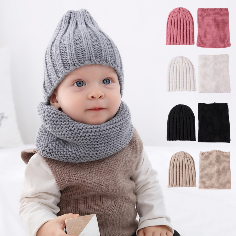 Wondder 2pcs Kids Scarf Hat Set Winter Warm Knitted Scarves Set for Children Boy and Girls