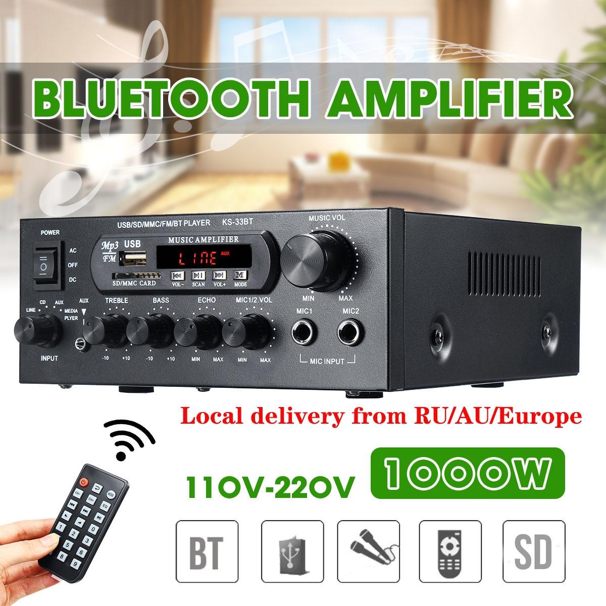 1000W 220V 110V bluetooth аудио Мощность усилитель Проекторы для домашнего кинотеатра усилитель звука с пультом дистанционного управления Управление...