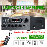1000W 220V 110V bluetooth  Audio Power Amplifier Home Theater Amplifiers amplificador  Audio with Remote Control Support FM USB