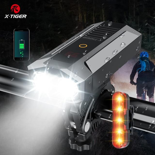 X TIGER Bike Light 1800 Lumens MTB Road Bike Front Lamp Bike Accessories Rainproof USB Rechargeable LED Bike Flashlight