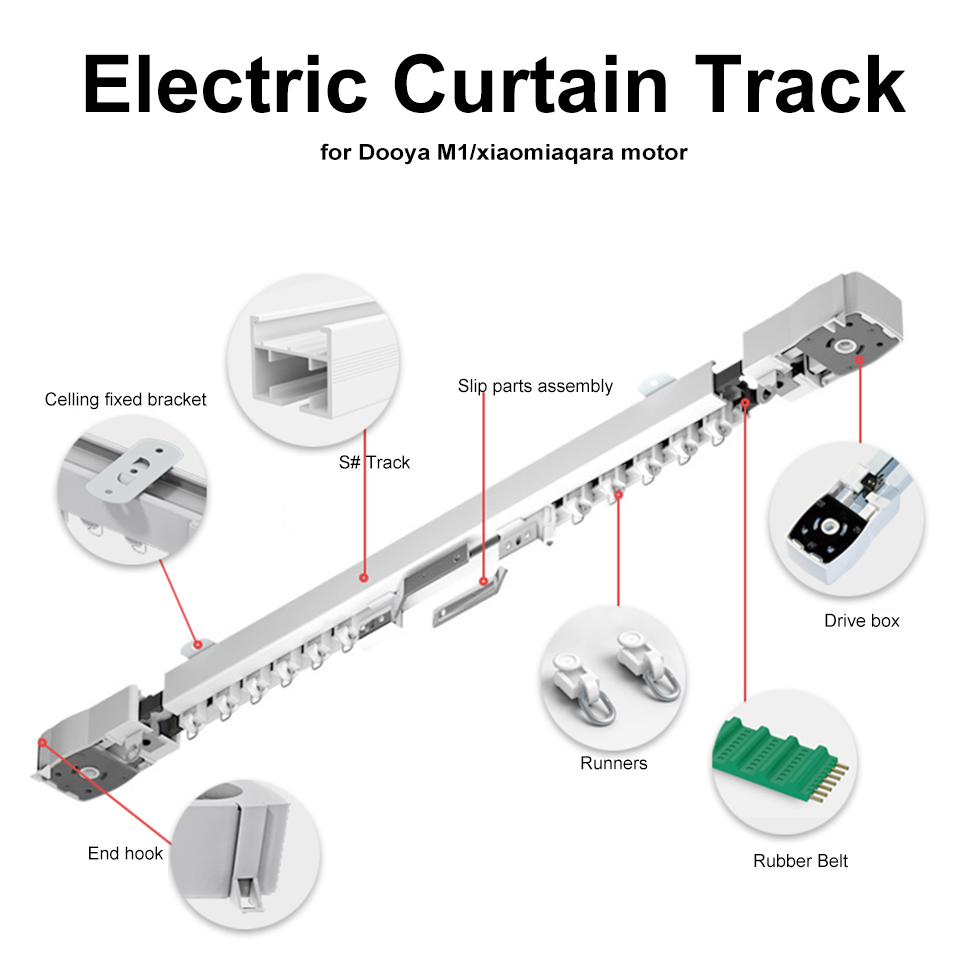 Customizable Super Quite Electric Curtain Track For Xiaomi Aqara /Dooya M1/ KT82/DT82 Motor For Smart Home Curtain Rail System