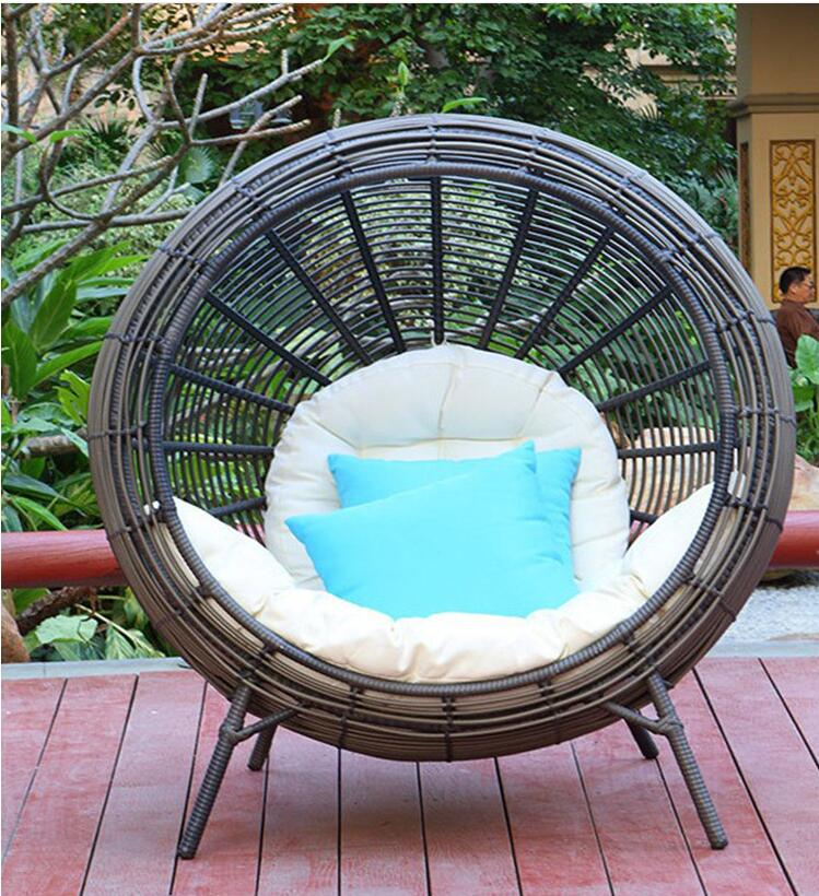 Balcony Rattan Bed Courtyard Living Room Leisure Rattan Chair Hotel Club Single Chair Indoor Outdoor Lazy Lounge Chair
