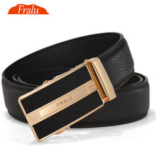 FRALU 2017Men Belt Leather Famous brand Designers high quality Luxury Metal automatic buckle Waist strap for Hombre male Fashion(China)