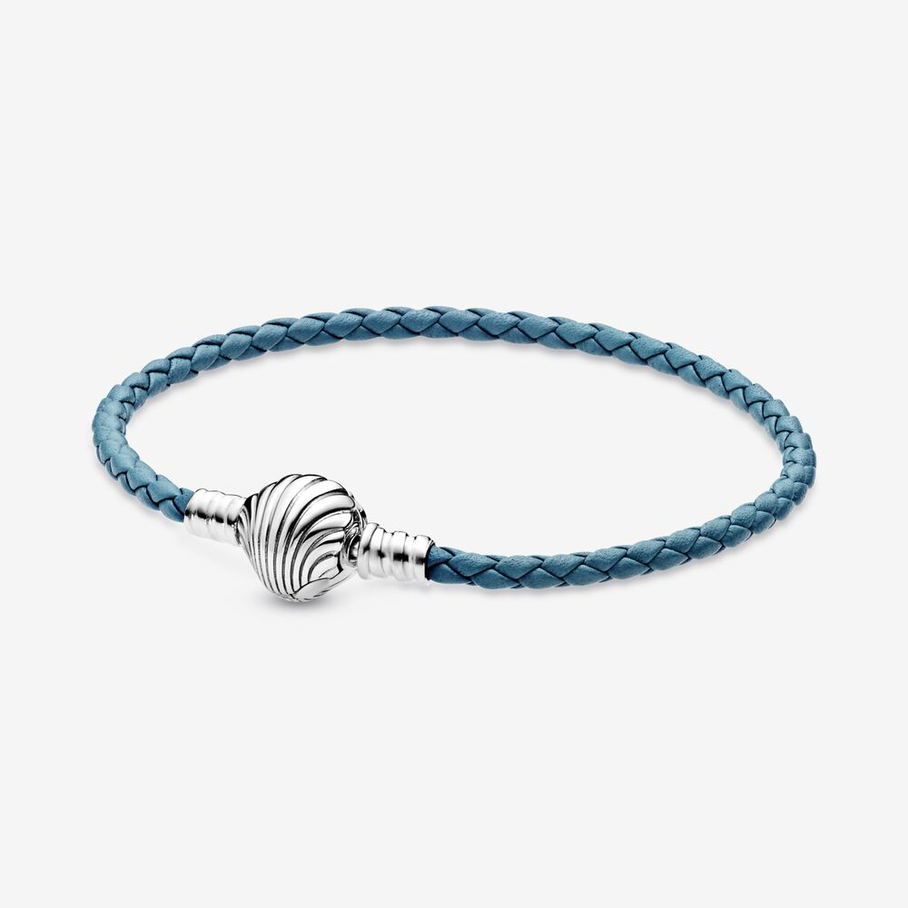 2020 New Summer 925 Sterling Silver Seashell Clasp Turquoise Braided Leather Bracelet For Women Fashion DIY Jewelry 3