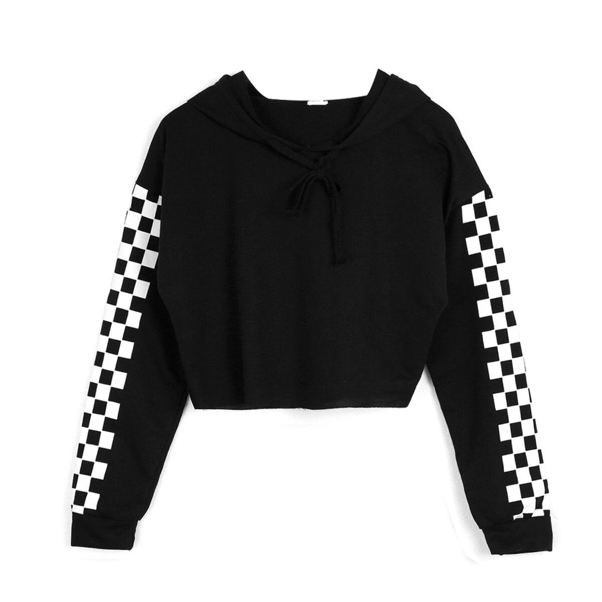 Fashion Cotton Plaid Long Sleeve Women Cropped Hoodie Crop Sweatshirt