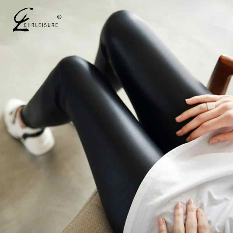 Vrouwen Faux Leather 2019 Nieuwe Herfst Mode Sexy Dunne Zwarte Leggings Mujer Leggins Leggings Push Up Plus Size