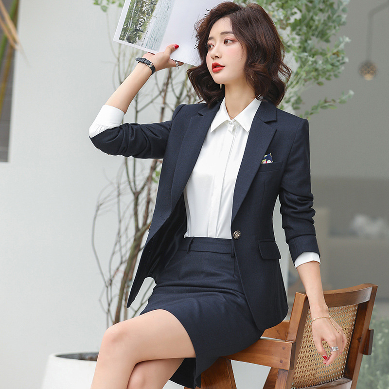 Spring Autumn Women Gray Plaid Female office lady suit lady uniform two piece blazer with skirt suits set costumes Work Wear