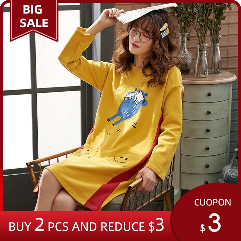 Perfering Hot Sale Cotton Sleepwear Women Nightdress Cartoon Ladies Nightgown Sexy Girl Nightwear Plus Size Home Sleep Dress