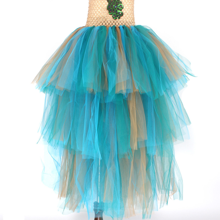 LIMITED EDITION Luxury Girls Peacock Tutu Dress with Matching Headband Multi-layer Kids Pageant Tulle Ball Gowns Peacock Costume (8)
