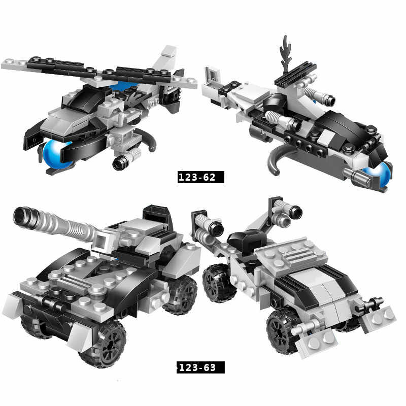 6 in1 City Military Series Trucks Helicopter Tank Vehicles Model  Building Blocks Brick Sets Toys For Educational Children Gift