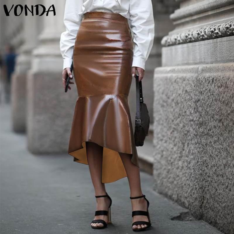 Sexy PU Leather Skirt Women High Waist Hip Long Skirts 2021 VONDA Asymmetric Party Skirt Faldas De Mujer Plus Size