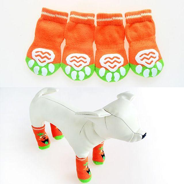 Фото 4 шт/компл милые вязаные носки для собак хлопковая противоскользящая цена