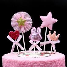 5 шт с днем рождения милый кролик вставка карта Корона любовь вставка для торта ювелирные изделия в виде выпечки декоративная карта десерт украшение стола
