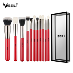 BEILI Red 11pcs Professional Makeup Brushes Set Natural Goat Hair Cosmetics Eyeshadow Powder Concealer Highlight Foundation