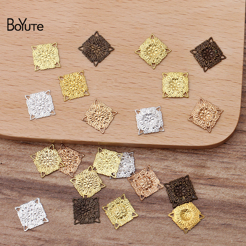 BoYuTe (200 Pieces/Lot) 10MM Metal Copper Stamping Square Filigree Findings Diy Hand Made Jewelry Accessories Wholesale