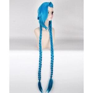 Image 2 - Парик для косплея HAIRJOY Lol Jinx длиной 100 см, синий с двойными косами, парик для костюма на Хэллоуин из термостойких синтетических волос
