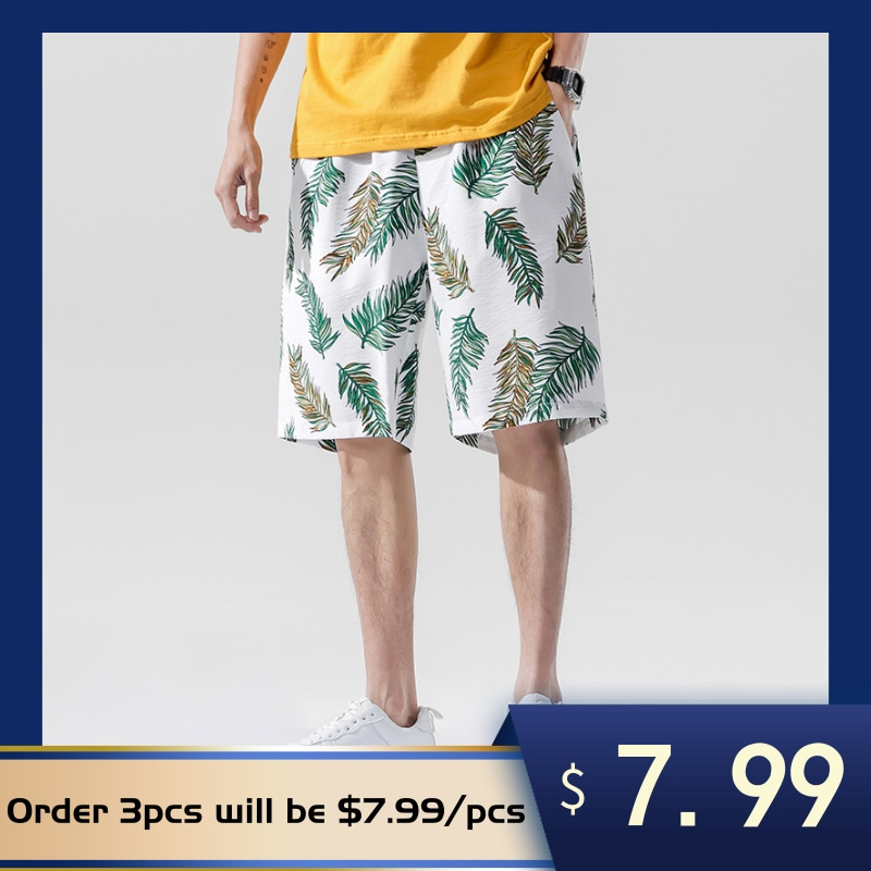 AIOPESON Hawaiian Shorts Mens New Casual Beach Pants Pattern Printed Coconut Tree Cartoon Fashion Casual Trend Mens Shorts