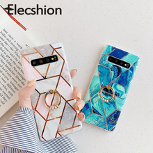 Marble Splice Phone Case For Samsung A50 A70 Geometric Gradient Cover Galaxy S8 S9 S10e Plating With Ring