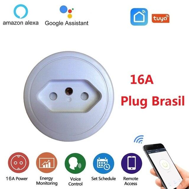 Brazylia inteligentne gniazdo Wifi 16A gniazdo bezprzewodowe rozrządu wtyczka monitora zasilania dla Tuya inteligentne życie APP wsparcie Alexa asystent Google