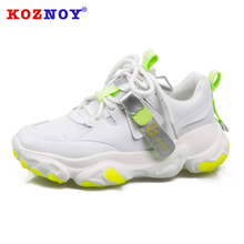 Koznoy Sneakers Women Spring Thick Bottom Dropshipping Fashion Sewing Solid Breathable Muffin Leisure Shoes