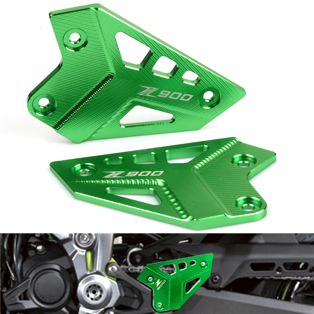 CNC Aluminum alloy For KAWASAKI Z900 Z 900 2017 2018 2019 Motorcycle FootPeg Footrest Rear set Heel Plates Guard Protector title=