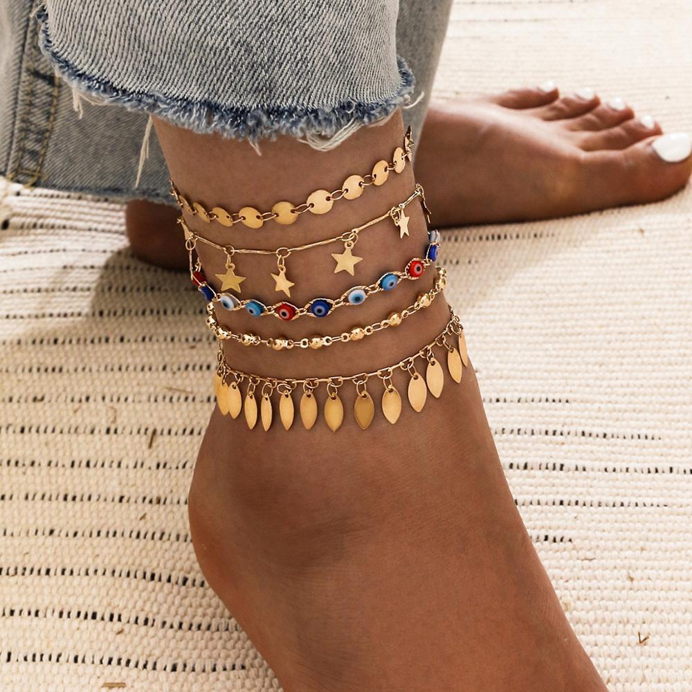 VAGZEB 5pcs/set Colorful Evil Eye Anklets for Women Gold Color Stars Leaves Sequins Anklet Multilayer Beach Anklet Jewelry