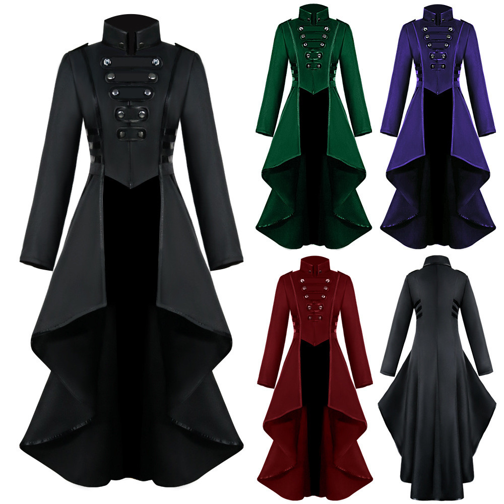 Hfc7a075de8f54103815501d6c1742020Y Women Halloween Jackets Gothic Steampunk Button Lace Corset Casual Halloween Costume Coat Tailcoat Jacket dropshipping