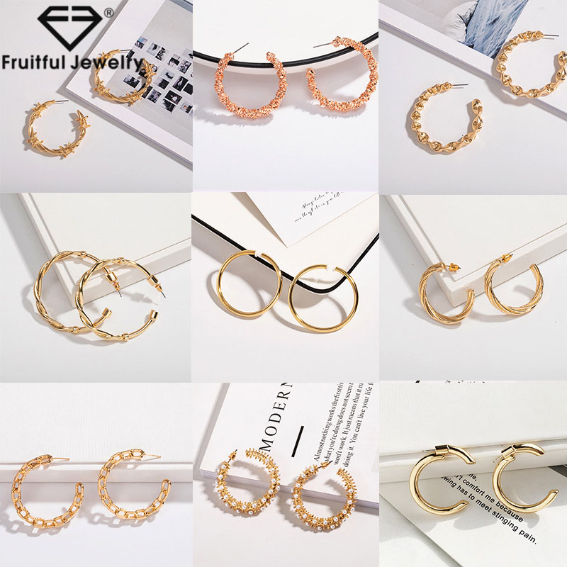 Fruitful  New Vintage Circle Alloy Hoop Earrings Pearl Round Geometric Chain C Shape Creative Accessory Boucle D'oreille Femme