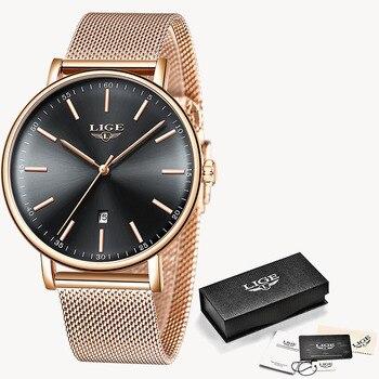LIGE Womens Watches Top Brand Luxury Waterproof Watch Fashion Ladies Stainless Steel Ultra-Thin Casual Wristwatch Quartz Clock 10