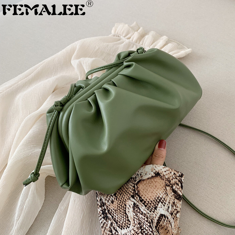 Leather Envelope Cloud Bag Soft Wrinkled Dumpling Shoulder Messenger Bag Luxury Handbags Designer Evening Clutch Pouch Purses