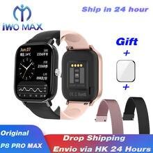 P8 pro max dt36 smartwatch 1.75 polegada infinitescreen smartwatch telefone chamada heartrate pressão de sangue smartband ios android pk p8 dtx