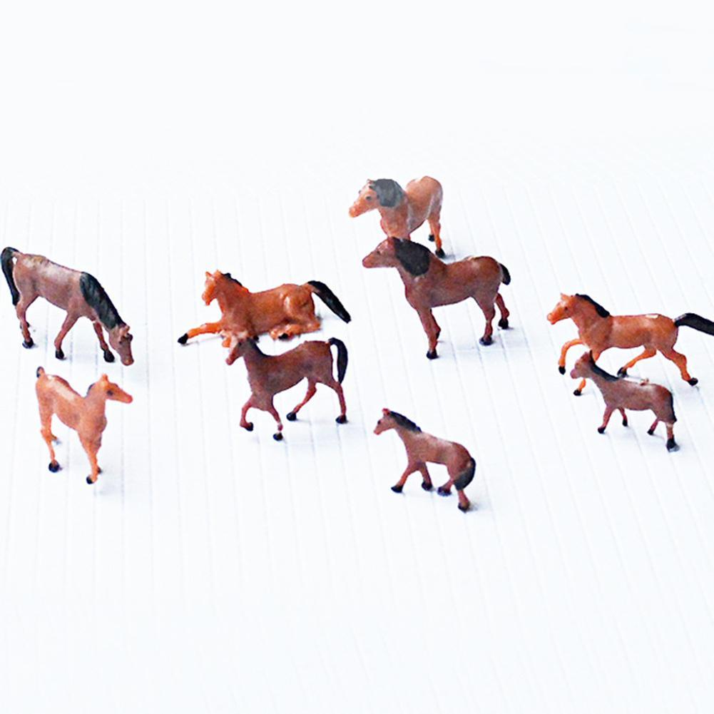 10Pcs 1/87 1/150 Horses Animal Model DIY Farm Zoo Parks Train Layout Accessory Intelligence Developmental Toys