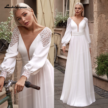 Vestidos simples boho manga longa vestidos de casamento 2021 v pescoço robe longue praia chiffon a linha vestidos de casamento vestido de novia