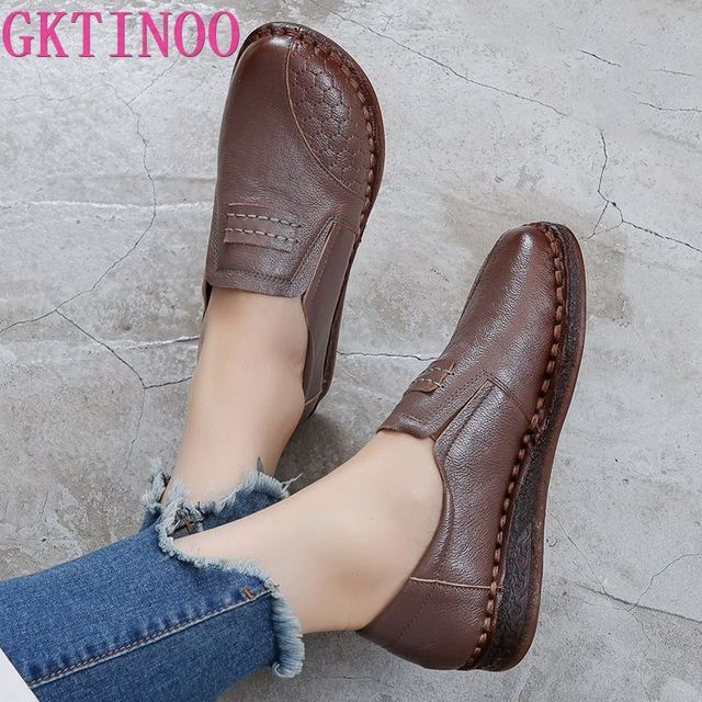 GKTINOO 2020 Fashion Women Shoes Genuine Leather Loafers Women Casual Shoes Mother Soft Comfortable Shoes Women Flats Non-slip
