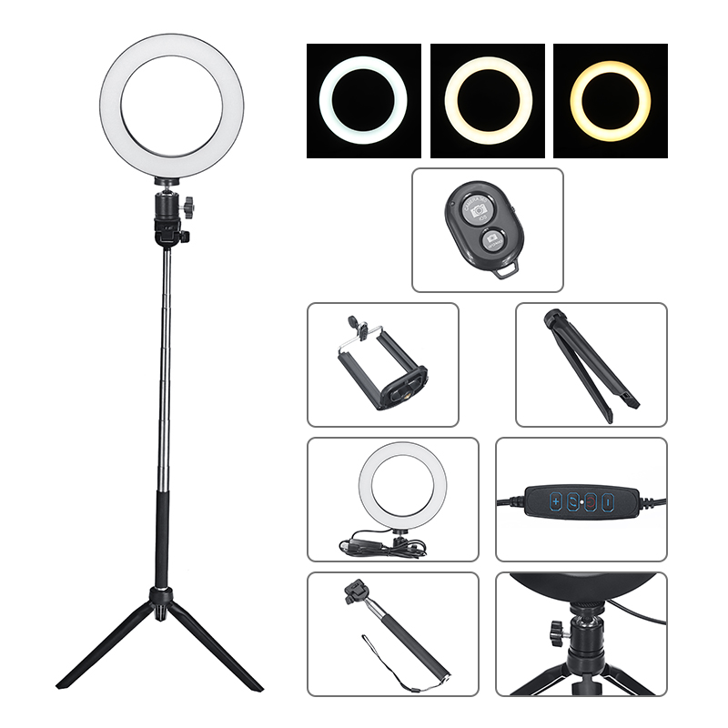 Photography Dimmable LED Selfie Ring Light Video Live 3500-5500k Photo Studio Lamp With Phone Holder USB Plug Tripod Fill Lights