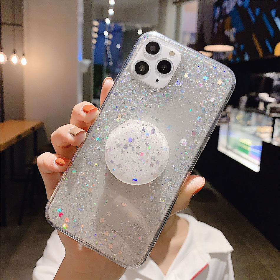 Bling Glitter Design Phone Standing Case With Star Sequin Cover For iPhone 11 Models 29