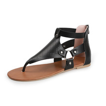 Summer Sandals Women Flip-flops Gladiator Flats Shoes Woman Casual Buckle Strap Solid Hollow Out Plus Size 35-43 Beach Sandals jady rose weave style women genuine leather flat sandal hollow out gladiator sandals flats casual beach shoes woman sandalias