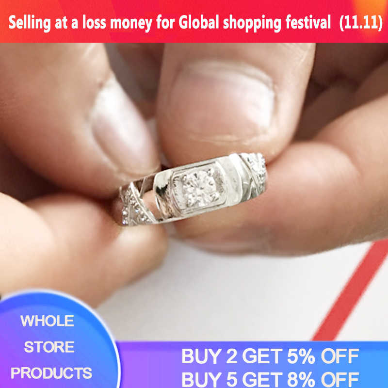 ฟรีส่งใบรับรอง! 100% Original Solid 925 แหวนเงินของขวัญธรรมชาติ 0.5Ct CZ Zircon แหวนเครื่องประดับ R077