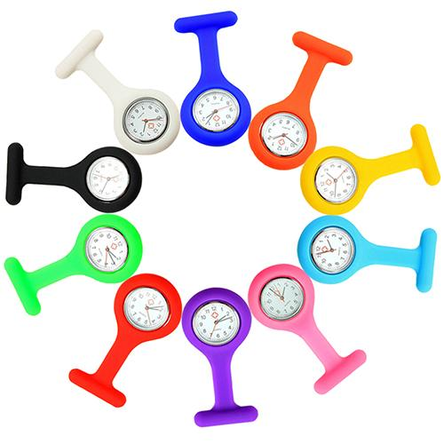 Nurse Watch Casual Pocket Watch Soft Silicone Electroplating Nurse Watch Brooch Tunic Fob Watch With Free Battery Quartz Watch
