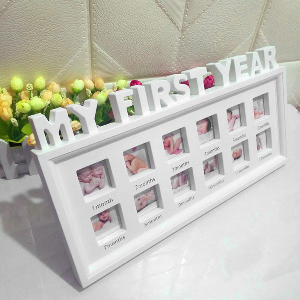 12 Months My First Year Souvenirs Photo Frame Display Ornaments Infant Picture PVC Desktop Newborn Baby Moments Show Girls Boys