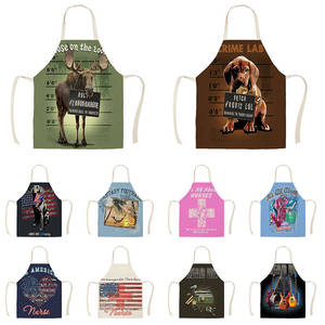 Delantales de cocina de perro gato de estilo de dibujos animados para mujer, hombre, cocina casera, tienda de horneado, delantal de algodón de limpieza de lino WQ1491