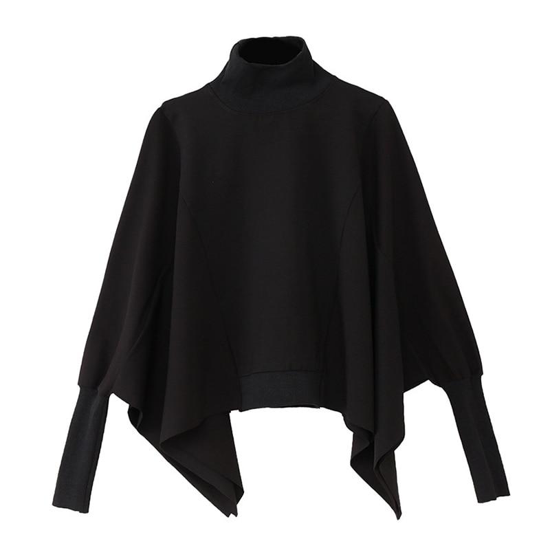 [EAM] Loose Fit Black Irregular Split Joint Sweatshirt New Turtleneck Long Sleeve Women Big Size Fashion Tide Autumn 2020 1Z299 6