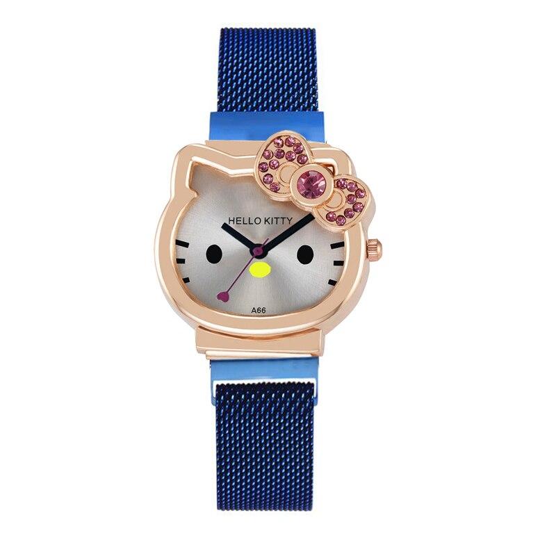 Милый дети часы Kt кошка металл милан ремешок красочный ремень синий золото для детей подарок девочки милый мультфильм дети часы