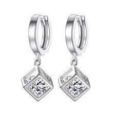 купить New Fashion Elegant Silver Earring Geometric Charming Crystals Square Stud Earrings For Women Statement Jewelry по цене 257.27 рублей