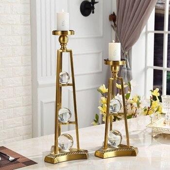 Stainless Steel Nordic Candle Holder Wedding Flower Luxury Candle Holder Glass Vintage Porte Chandelles Home Decoration KK60ZT